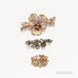 Three Enameled Flower Brooches