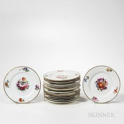 Nineteen Derby Porcelain Floral Decorated Plates