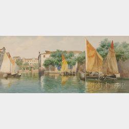 Eugenio Benvenuti (Italian, 1881-1959)      Venetian Canal View