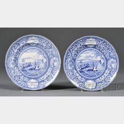 """Two Blue Transferware """"Landing of the Fathers at Plymouth"""" Dinner Plates"""