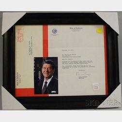 Framed 1971 Governor Ronald Reagan Signed Typed Letter