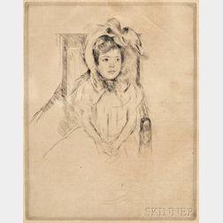 Mary Cassatt (American, 1843-1926)      Margot Wearing a Large Bonnet, Seated in an Armchair