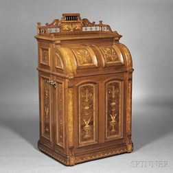 Joseph Moore Renaissance Revival Marquetry-inlaid Walnut Office Queen   Cabinet Secretary