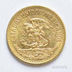 1918 Mexican 20 Pesos Gold Coin, KM478.
