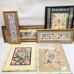 Six Framed Chinese Silk Embroideries.     Estimate $600-800