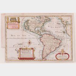 North and South America. Nicolas de Fer (1646-1720) L'Amerique, Meridionale et Septentrionale.