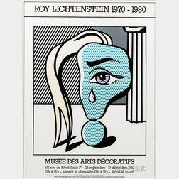 After Roy Lichtenstein (American, 1923-1997) Poster for Roy Lichtenstein 1970-1980, Exhibition at the Musée des Arts Décoratifs, Paris