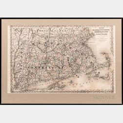 Map Colton's Massachusetts Connecticut and Rhode Island  .