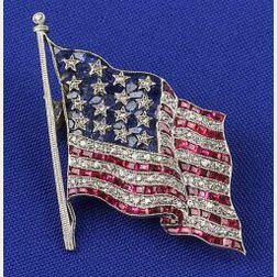 Gem-set American Flag Brooch