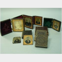 Ten Early Portrait Ambrotypes, Daguerreotypes and Tintypes with Cases.