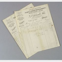 Two Invoices from Antoine Lumiere et Ses Fils