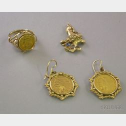 1852 Liberty Head Dollar Ring, a Pair of 1927 Indian Head 2 1/2 Dollar Earrings, and a Gold Nugget Pendant....