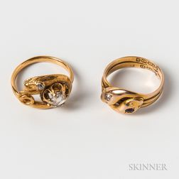 Two Gold Gem-set Snake Rings