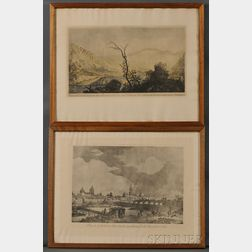 Brambila, Fernando (1763-1834) Two Framed Views of Lima, Peru and Santiago, Chile.
