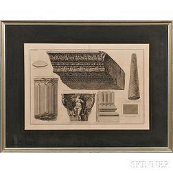 Giovanni Battista Piranesi (Italian, 1720-1778)      Frammenti architettonici (Five Architectural Fragments from Albano)
