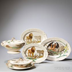 "Six Pieces of Copeland Earthenware ""Aesop's Fables,"""