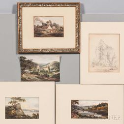 British School, 18th/19th Century  Five Works on Paper: Four Watercolor Landscapes including Shepherd and Flock on a Bluff, T...