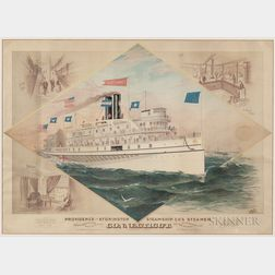 Framed Lithograph Providence and Stonington Steamship Co's Steamer Connecticut
