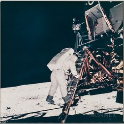 Apollo 11, Astronaut Edwin E. Aldrin Jr. Descends the Steps of the Lunar Module Eagle Ladder as He Prepares to Walk on the Moon (...