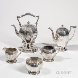 Five-piece Black, Starr & Frost Sterling Silver Tea Service