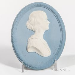 Wedgwood Solid Light Blue Jasper Self-framed Portrait Plaque