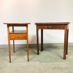 Georgian-style Mahogany Card Table and a One-drawer Stand.     Estimate $200-250