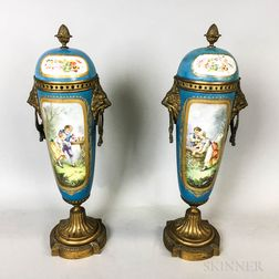 Pair of Sevres-style Brass-mounted Porcelain Covered Vases