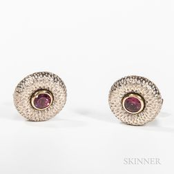 Caroline Ballou 18kt Gold, Sterling Silver, and Rubellite Garnet Cuff Links