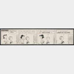 Charles M. Schulz (American, 1922-2000)      Peanuts ® Daily Comic Strip: TV! TV! TV!