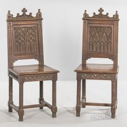 Six Gothic-style Oak Side Chairs