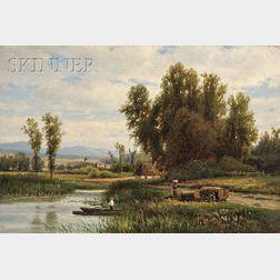 Joseph Antonio Hekking (American, 1830-1903)      Fishing in a Marsh
