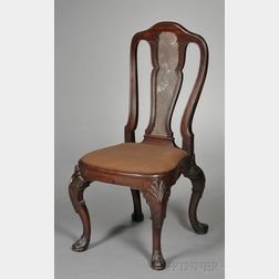 Dutch Colonial Queen Anne Carved Hardwood Side Chair