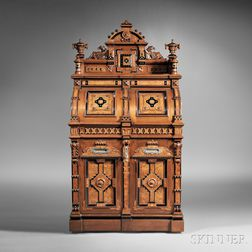 Wooton Renaissance Revival Walnut and Bird's-eye Maple Superior Grade Cabinet Secretary