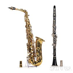 French Alto Saxophone, Henri Selmer, Paris, 1955, Model Mark VI, and a Selmer Bb Clarinet