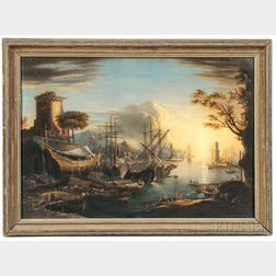 Manner of Claude Lorrain (French, 1600-1682)      Harbor Scene with Setting Sun