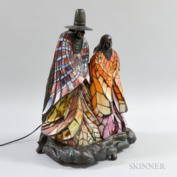Cast Bronzed Metal and Stained Glass Native American Figural Lamp