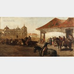 James McDonnough (American, 1820-1903)      A Fierce Horseback Competition