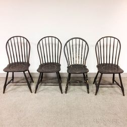 Set of Four Brown-painted Bamboo-form Bow-back Windsor Chairs