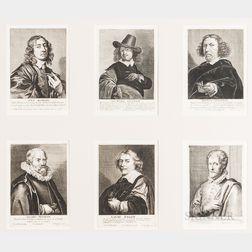 Johannes Meyssens (Flemish, 1612-1670), Publisher, Six Portraits of Artists/Architects in a Common Frame: Simon Bosboom, Leonard Bramer