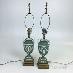 Pair of Modern Wedgwood Sage Jasper Urns Mounted as Lamps