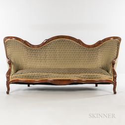 Rococo Revival Upholstered Rosewood Laminate Sofa