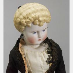 Blonde Molded Hair Bisque Doll with Turned and Tilted Head