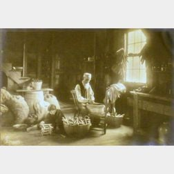 Framed Photograph of a Gentleman and Child Husking Corn
