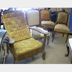 Set of Three Renaissance Revival Upholstered Walnut Parlor Chairs and a Late Victorian Oak Spindle-sided Morris...