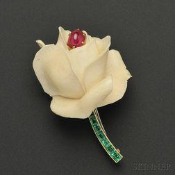 18kt Gold Gem-set Flower Brooch, Cartier