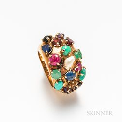 14kt Gold Multi-stone Cluster Ring