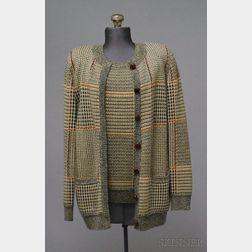 Bill Blass Herringbone Plaid Wool and Cashmere Sweater Set