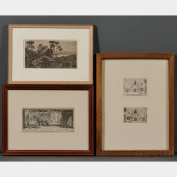Henriet, Israel (1590-1667) Jacques Callot (1592-1635) and Others, Six Continental Prints in Five Frames.