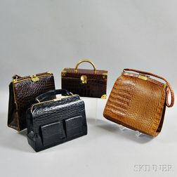 Group of Embossed Leather Handbags