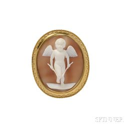 Antique Gold and Shell Cameo Brooch